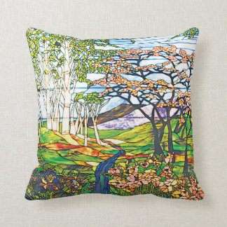Waterfall Iris Birch Tiffany Stained Glass Window Cushion
