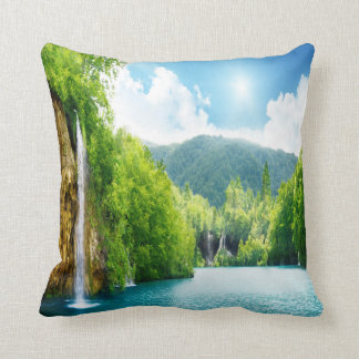 Waterfall Landscape Throw Cushion