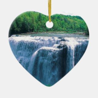 Waterfall Letchworth State Park New York Ceramic Heart Decoration