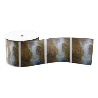 Waterfall Nature Environment Forest Woods Cliffs Grosgrain Ribbon