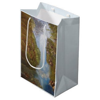 Waterfall Nature Environment Forest Woods Cliffs Medium Gift Bag