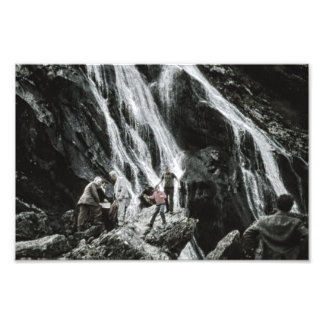 Waterfall Nature, Rock Climbing Outdoor People Photo Print