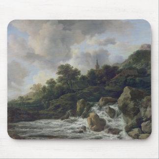 Waterfall Near a Village, c.1665-70 Mouse Mat