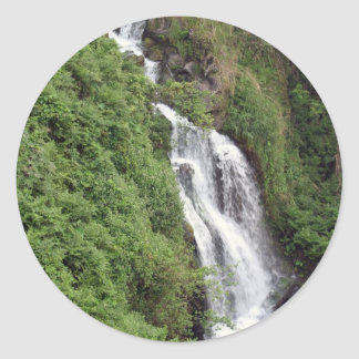 Waterfall Near Hilo, Hawaii Classic Round Sticker