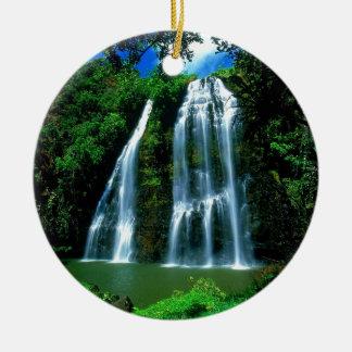 Waterfall Opaekaa Kauai Hawaii Christmas Ornament
