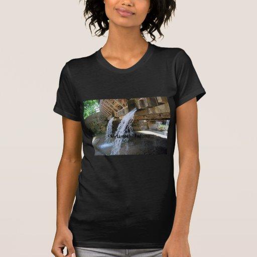 Waterfall over a bridge t shirts