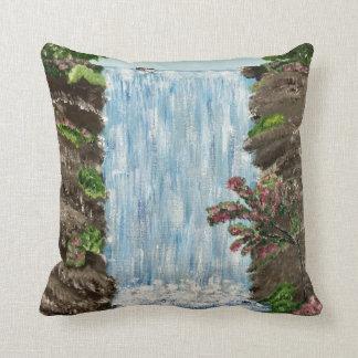 Waterfall Pillow (blue back)