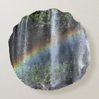 Waterfall Rainbow Round Pillow