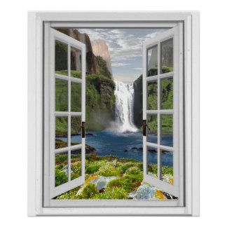 Waterfall View Trompe l'oeil Effect Fake Window Poster