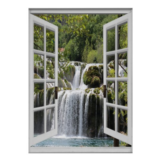 Waterfall View Trompe l'oeil Fake Window Poster