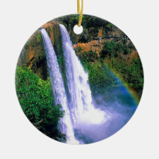 Waterfall Wailua Kauai Hawaii Round Ceramic Decoration