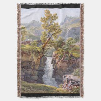 Waterfall Wilderness Alps Mountains Throw Blanket