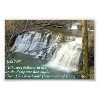 Waterfall with John 7:38 Photo Print