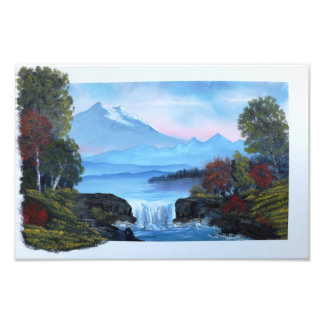 Waterfall With Peaceful Distant Mountains Photo Print