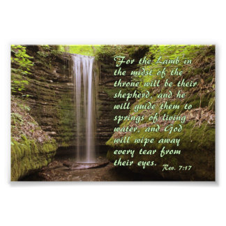 Waterfall with Rev. 7:17 verse Photo