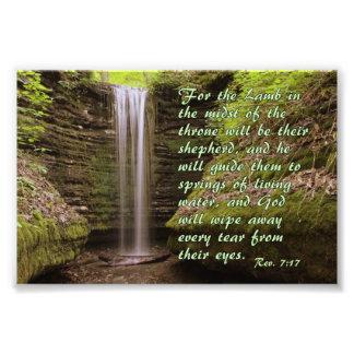 Waterfall with Rev. 7:17 verse Photo Print