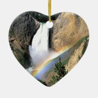 Waterfall Yellowstone Park Wyoming Ceramic Heart Decoration