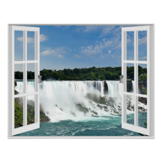 Waterfalls Trompe l'oeil Fake Window View Poster