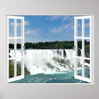 Waterfalls Trompe l'oeil Fake Window View Poster