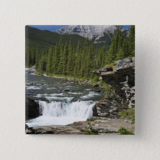 Waterfalls With Rock Ledge And A Mountain 15 Cm Square Badge
