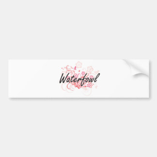 Waterfowl with flowers background bumper sticker
