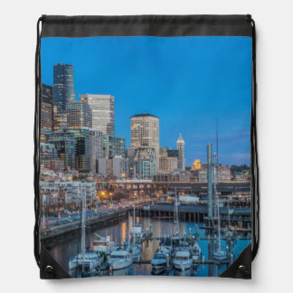 Waterfront and Downtown Drawstring Bag