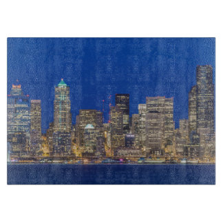Waterfront and Downtown Skyline at Twilight Cutting Board
