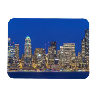 Waterfront and Downtown Skyline at Twilight Rectangular Photo Magnet