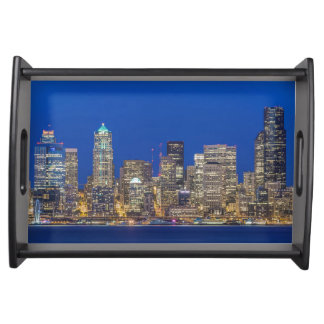 Waterfront and Downtown Skyline at Twilight Serving Tray