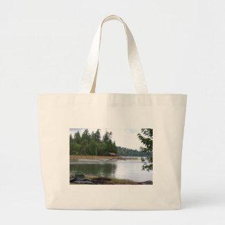 Waterfront cabin jumbo tote bag