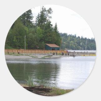 Waterfront cabin round sticker