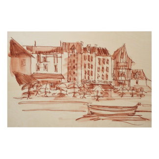 Waterfront Dining | Concarneau, Brittany, France Wood Wall Decor