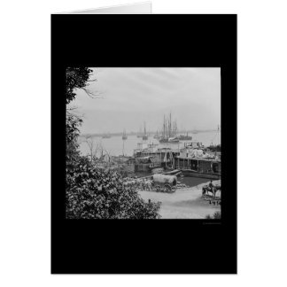 Waterfront Supply Boats in City Point 1864 Card