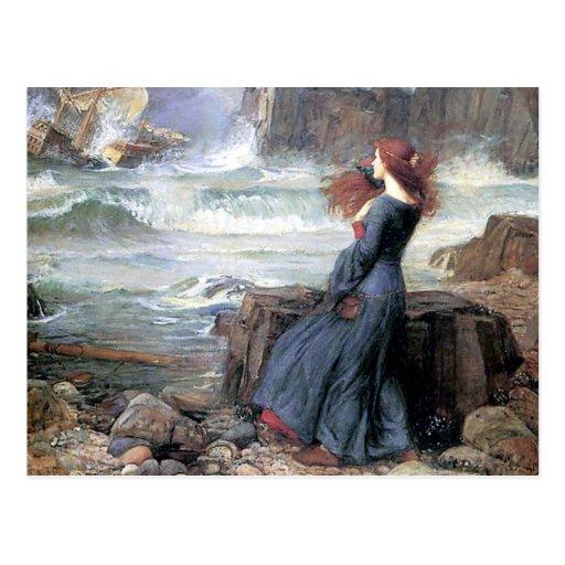 Waterhouse miranda the tempest woman ship wreck postcard