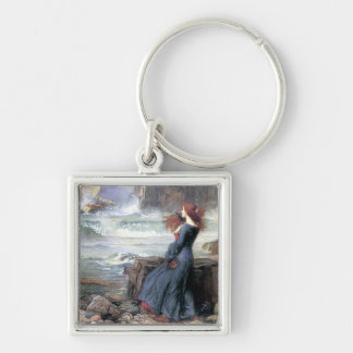 Waterhouse miranda the tempest woman ship wreck Silver-Colored square key ring