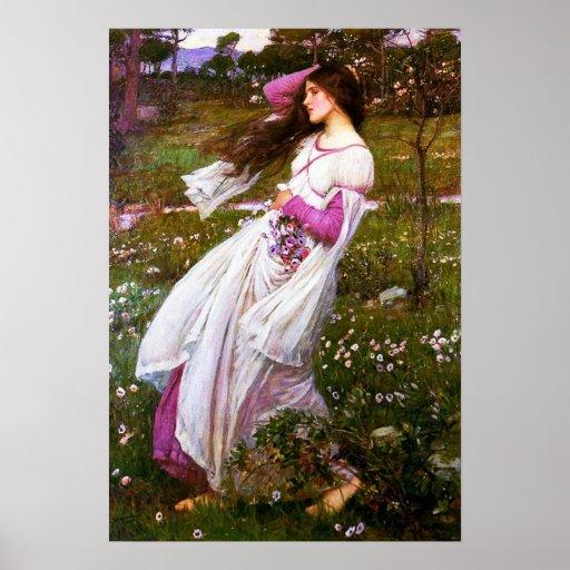 Waterhouse Windflowers Poster