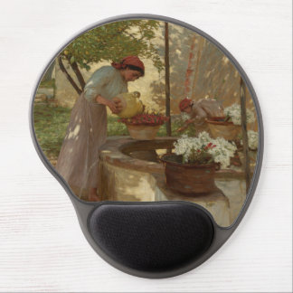 Watering and Gathering Flowers Gel Mouse Mat