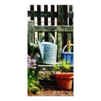 Watering Can and Blue Basket Photo Card Template