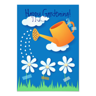 "Watering can and flowers, invitation 5"" x 7"" invitation card"