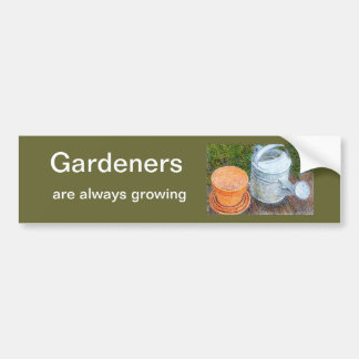 Watering Can and Pots Bumper Sticker