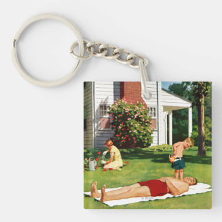 Watering Father Double-Sided Square Acrylic Key Ring