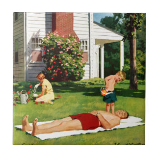 Watering Father Small Square Tile