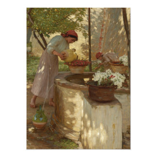 Watering Flowers from Well Card