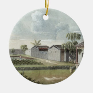 Watering tea plants (w/c on paper) christmas ornament