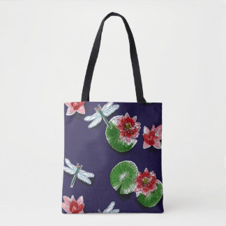 Waterlilies and Dragonflies Tote/Cross Body Tote Bag