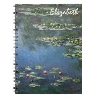 Waterlilies by Claude Monet, Vintage Flowers Note Book