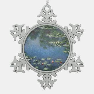 Waterlilies by Claude Monet, Vintage Flowers Pewter Snowflake Decoration