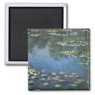 Waterlilies by Claude Monet, Vintage Flowers Square Magnet