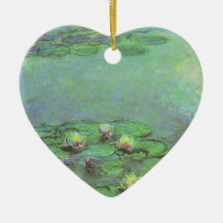 Waterlilies by Claude Monet, Vintage Impressionism Ceramic Heart Decoration