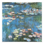 "Waterlilies by Claude Monet, Vintage Impressionism 5.25"" Square Invitation Card"